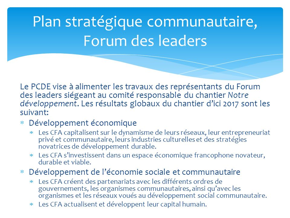Plan stratégique communautaire, Forum des leaders