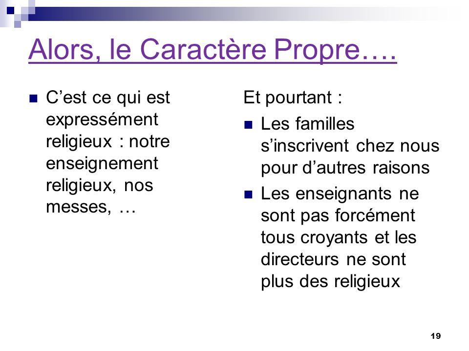 Alors, le Caractère Propre….