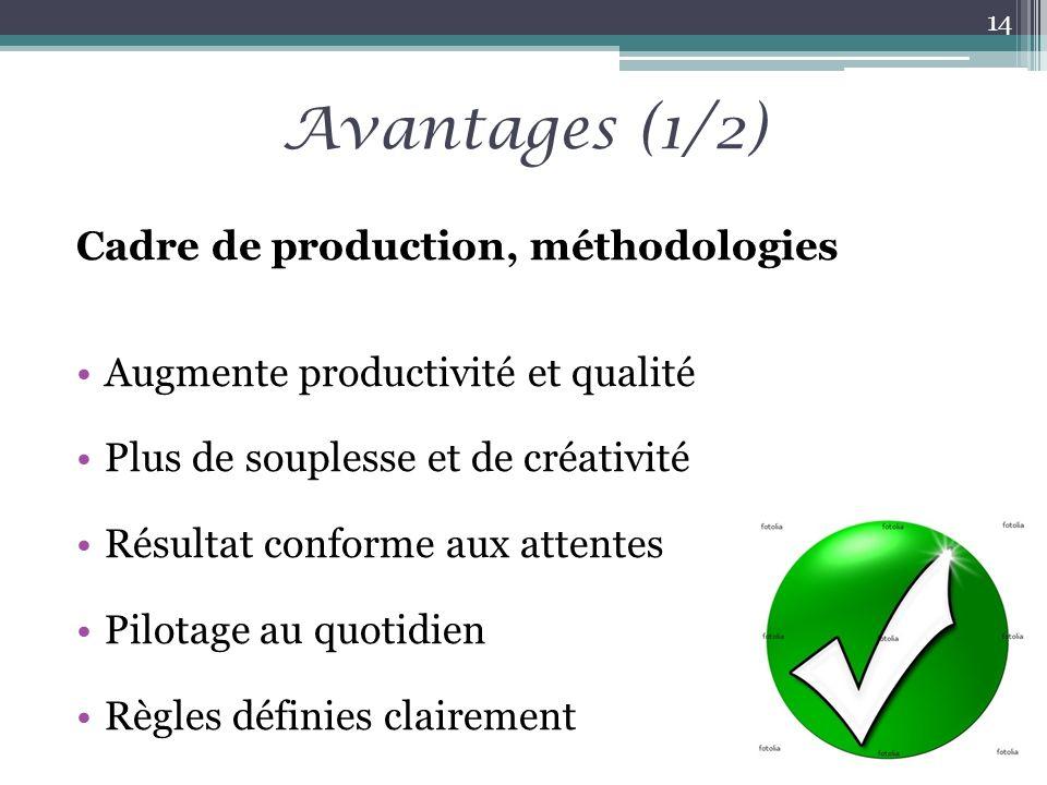 Avantages (1/2) Cadre de production, méthodologies