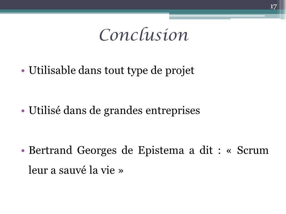 Conclusion Utilisable dans tout type de projet