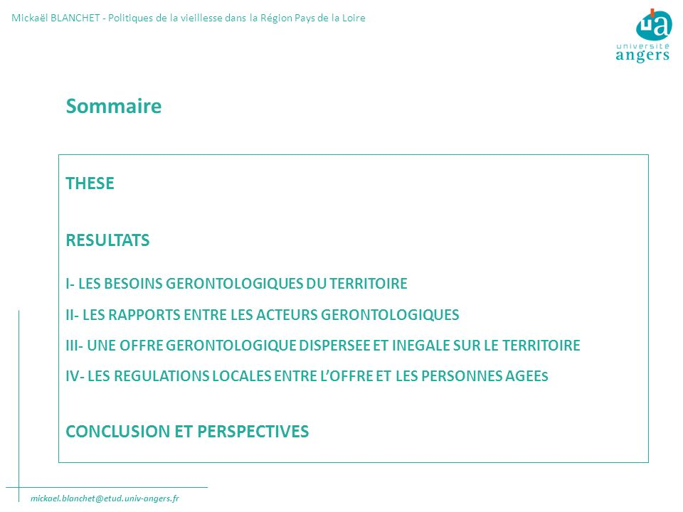 Sommaire THESE RESULTATS CONCLUSION ET PERSPECTIVES