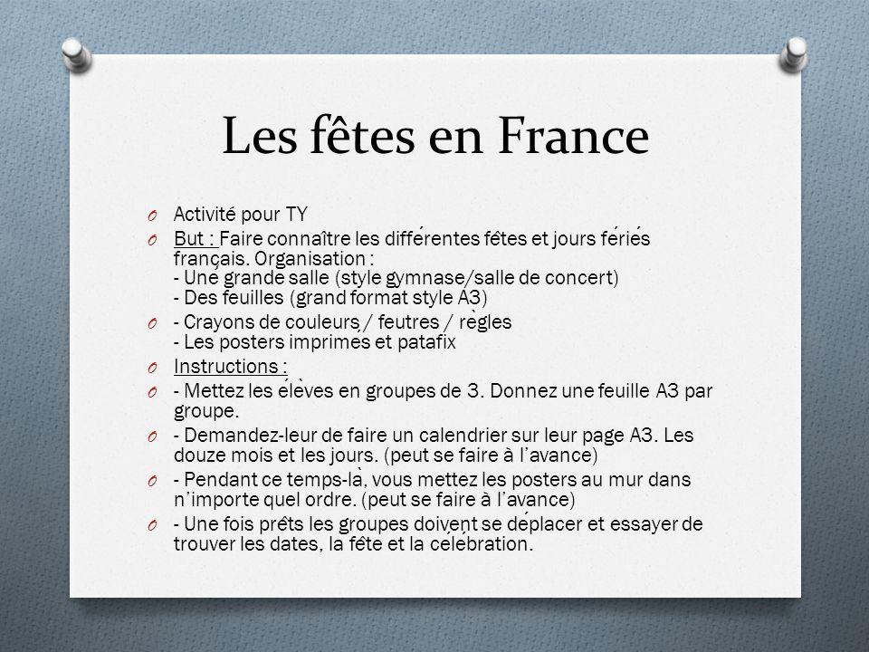 Les fêtes en France Activité pour TY