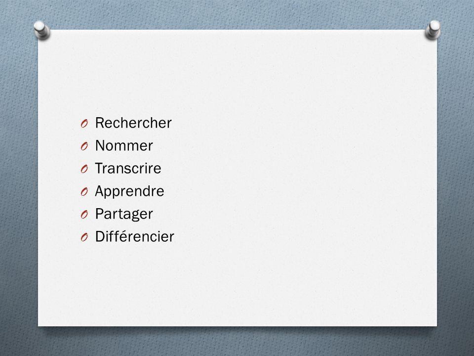 Rechercher Nommer Transcrire Apprendre Partager Différencier