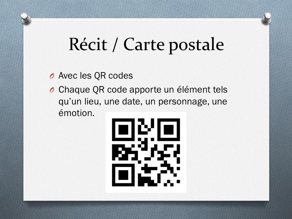 Récit / Carte postale Avec les QR codes
