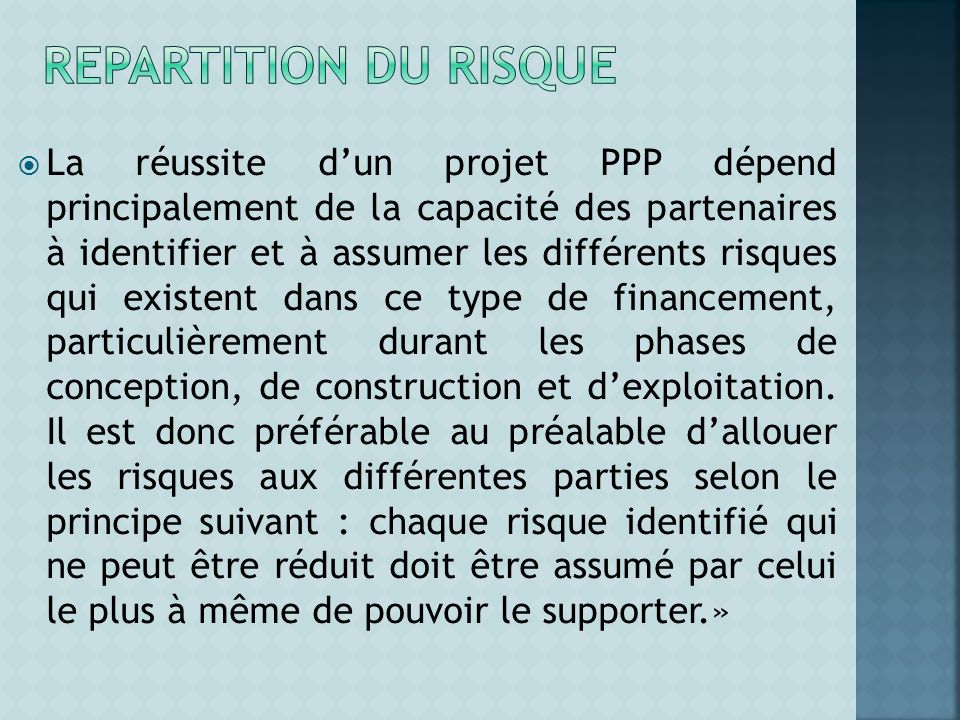 REPARTITION du risque