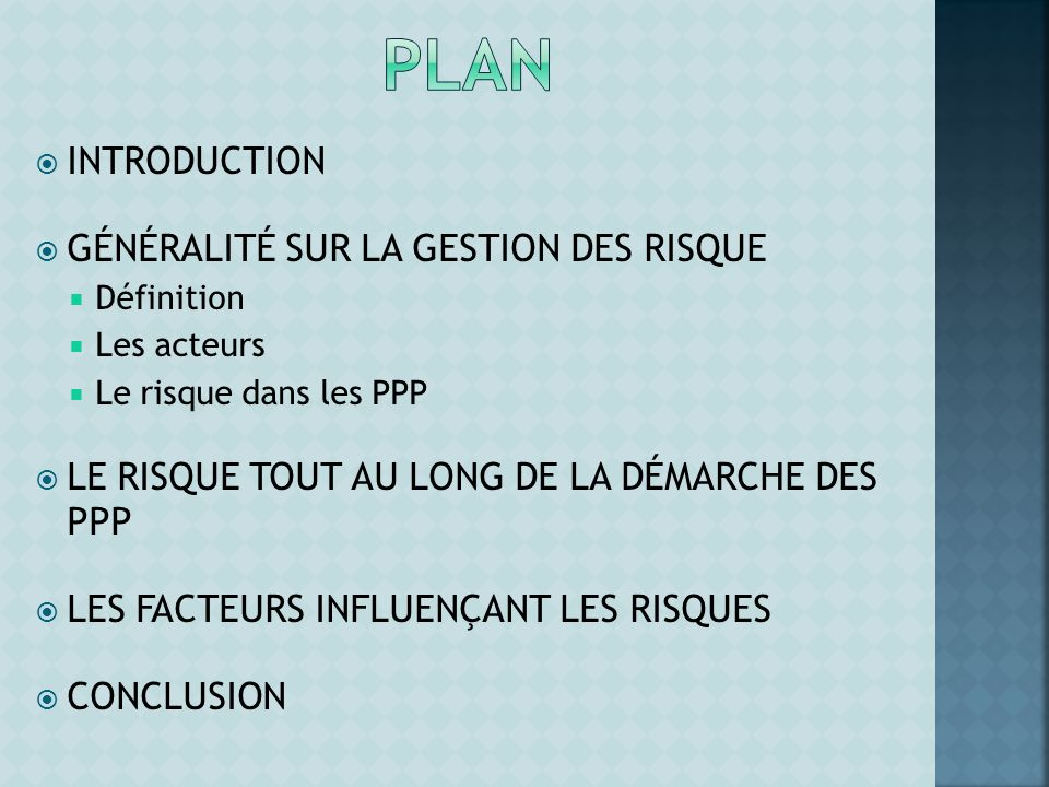 Plan INTRODUCTION GÉNÉRALITÉ SUR LA GESTION DES RISQUE