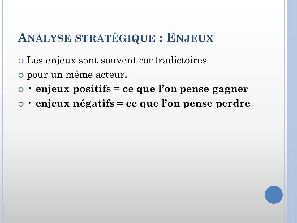 Analyse stratégique : Enjeux