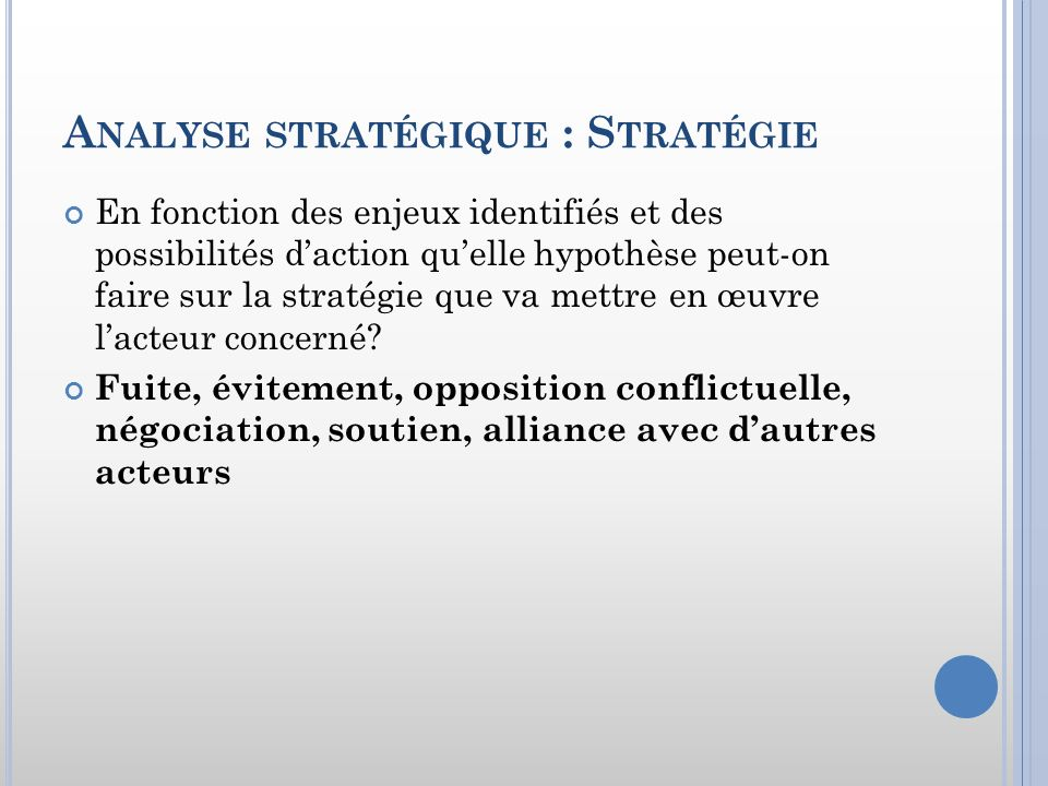 Analyse stratégique : Stratégie