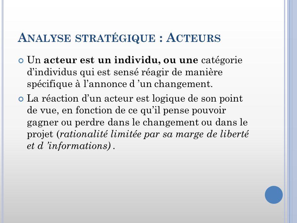 Analyse stratégique : Acteurs