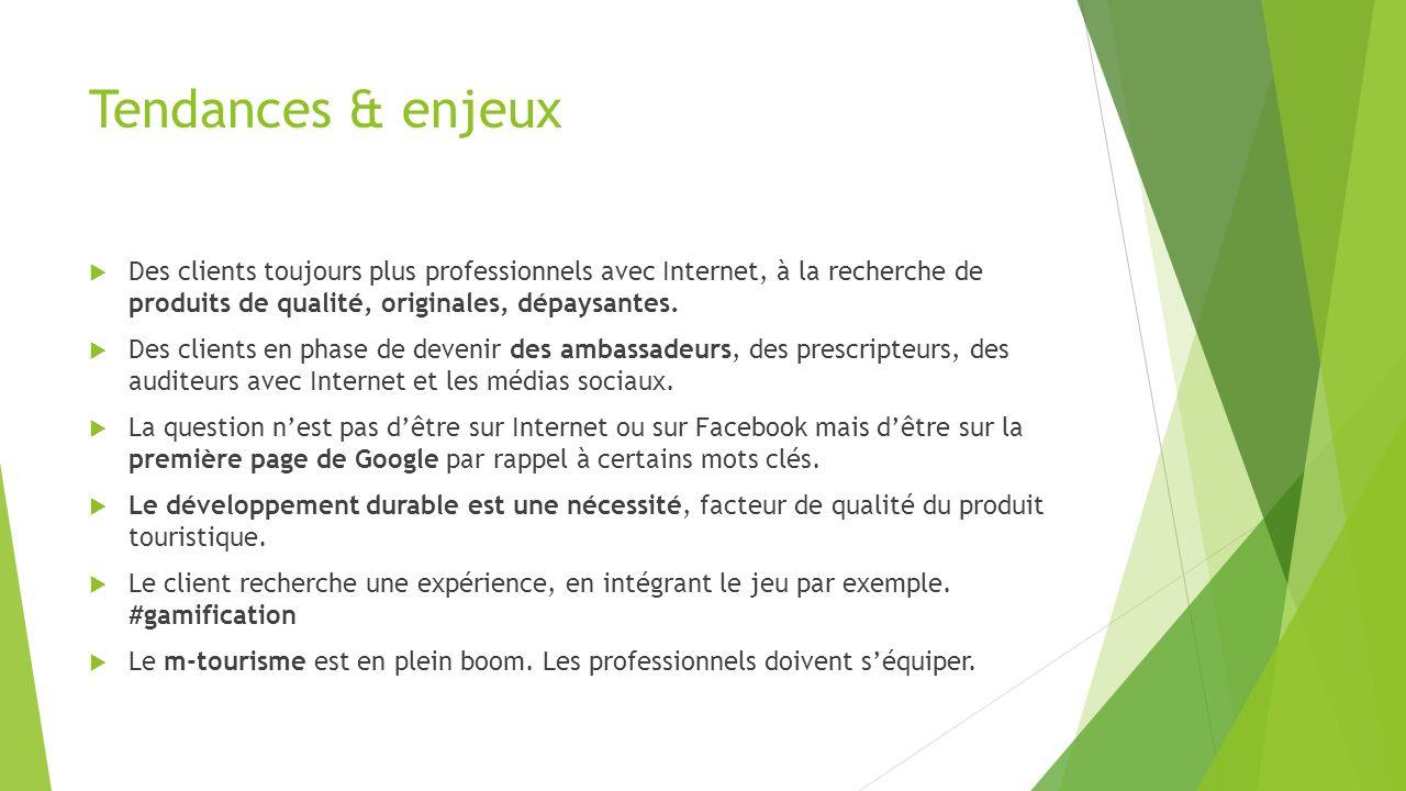 Tendances & enjeux Des clients toujours plus professionnels avec Internet, à la recherche de produits de qualité, originales, dépaysantes.
