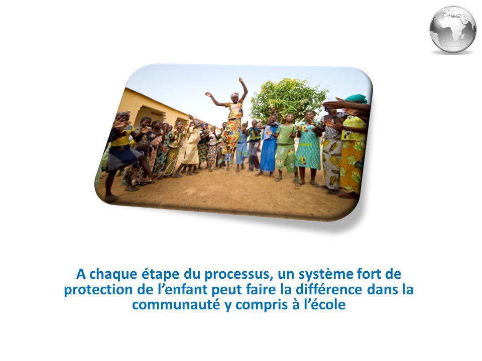 A chaque étape du processus, un système fort de protection de l'enfant peut faire la différence dans la communauté y compris à l'école