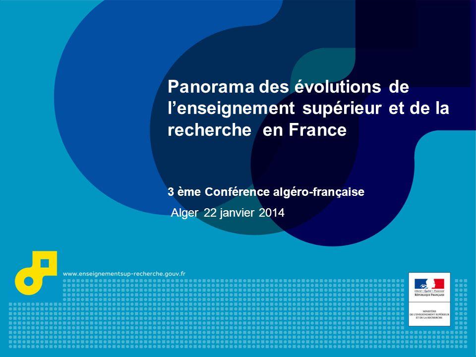 Panorama des évolutions de l'enseignement supérieur et de la recherche en France 3 ème Conférence algéro-française Alger 22 janvier 2014