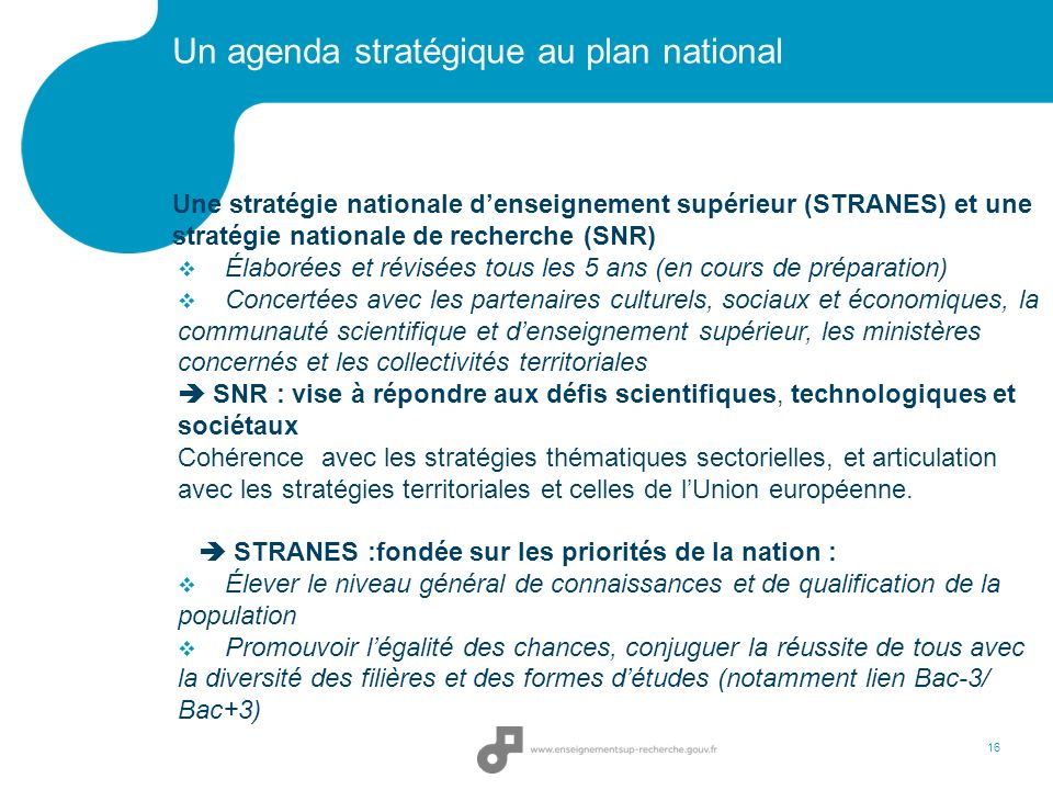 Un agenda stratégique au plan national