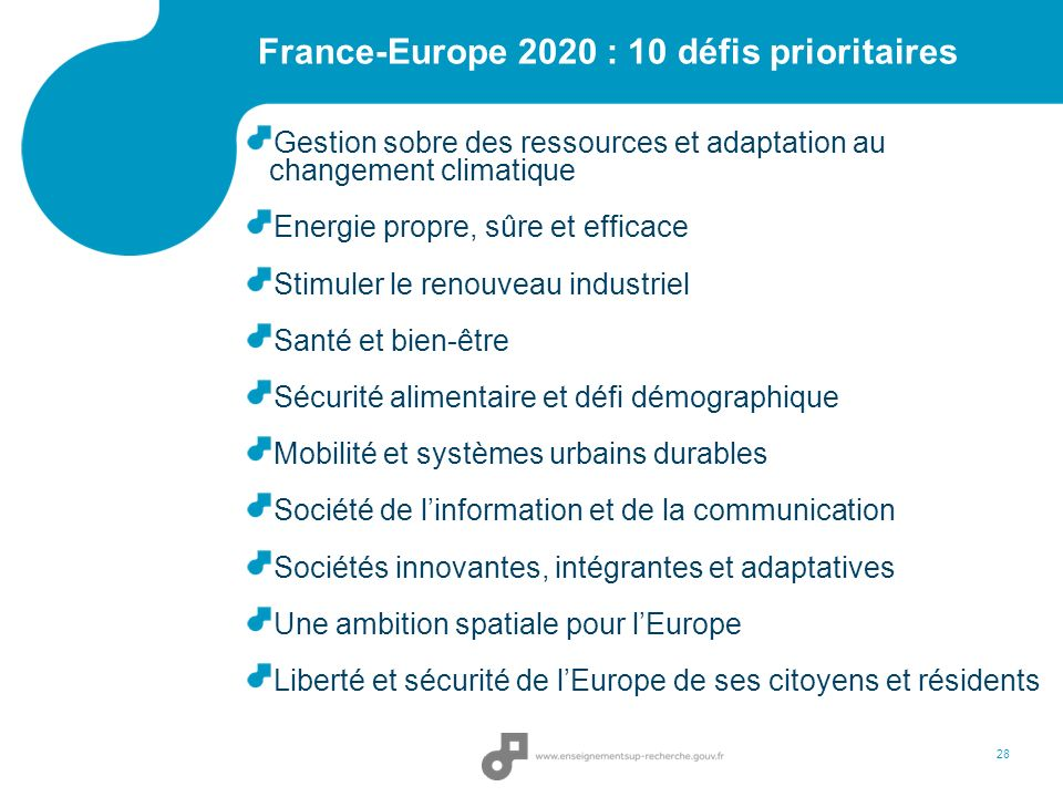 France-Europe 2020 : 10 défis prioritaires