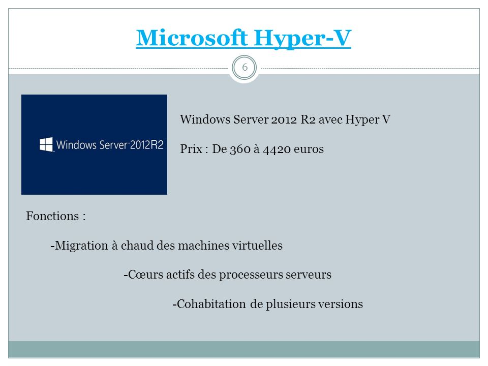 Microsoft Hyper-V Windows Server 2012 R2 avec Hyper V