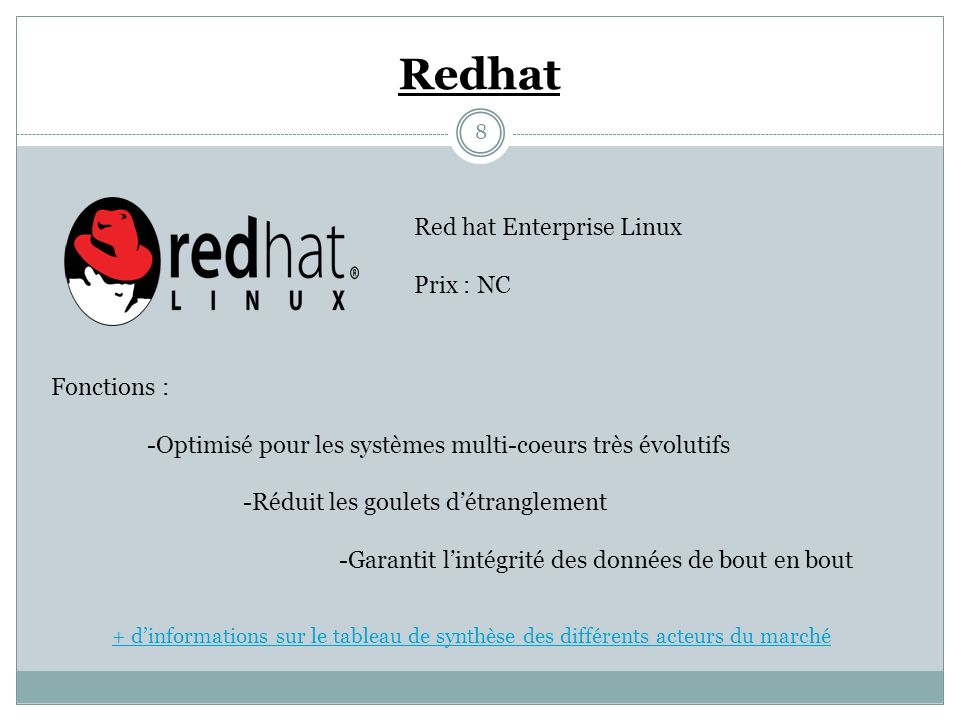 Redhat Red hat Enterprise Linux Prix : NC Fonctions :