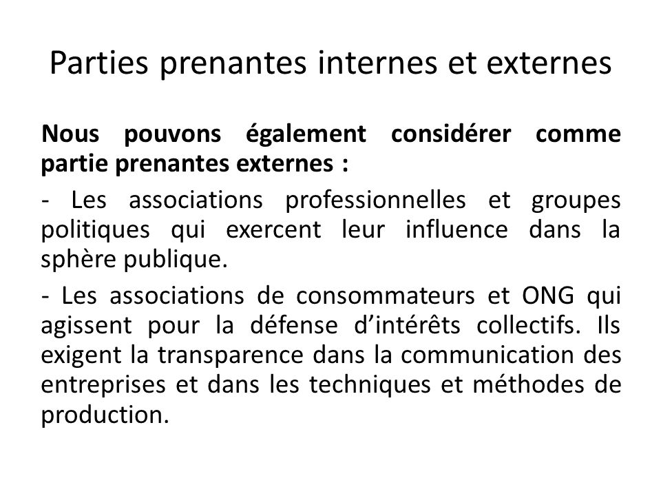 Parties prenantes internes et externes