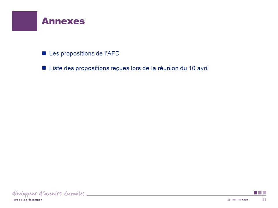 Annexes Les propositions de l'AFD