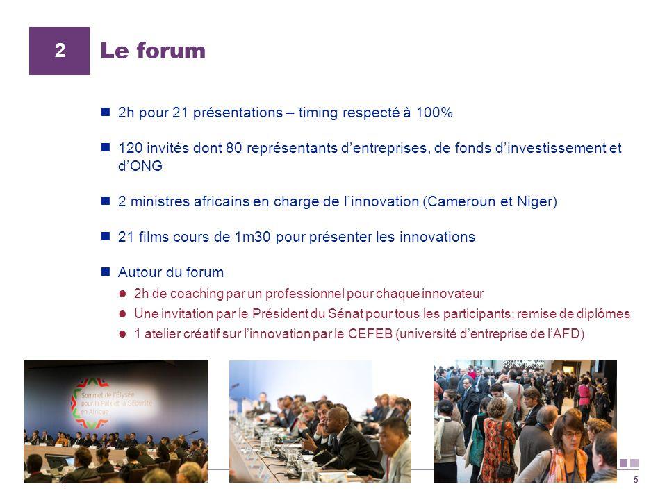 Le forum 2 2h pour 21 présentations – timing respecté à 100%