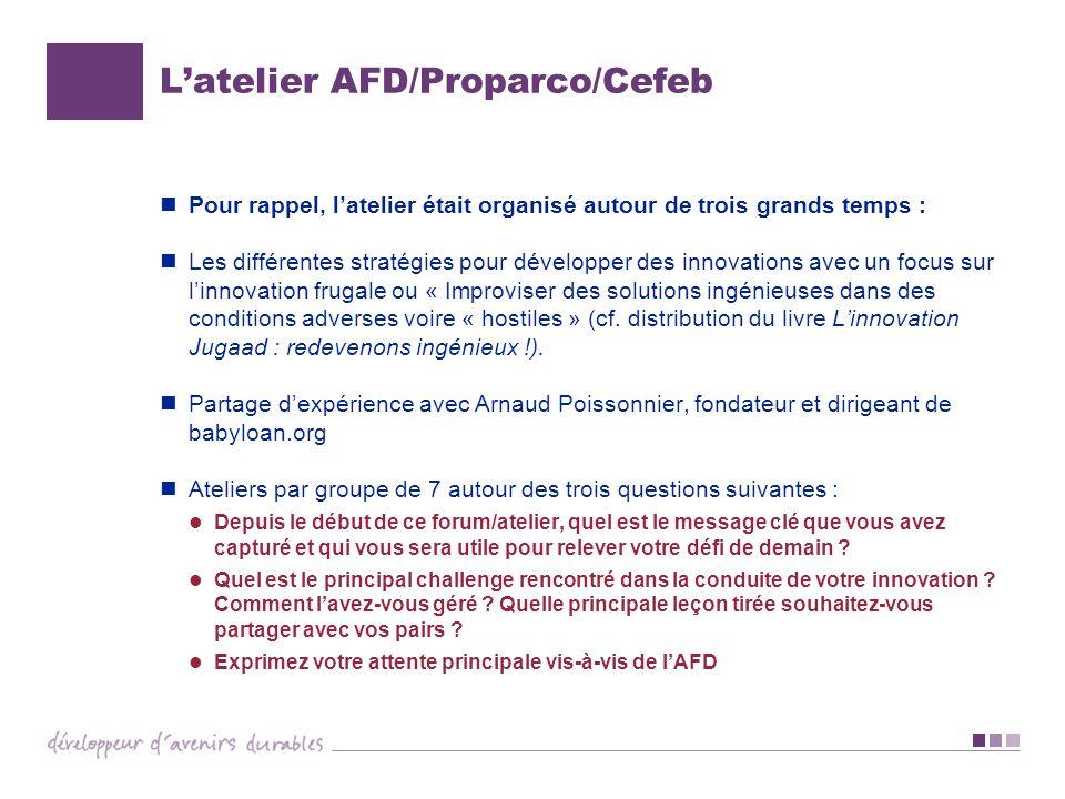 L'atelier AFD/Proparco/Cefeb
