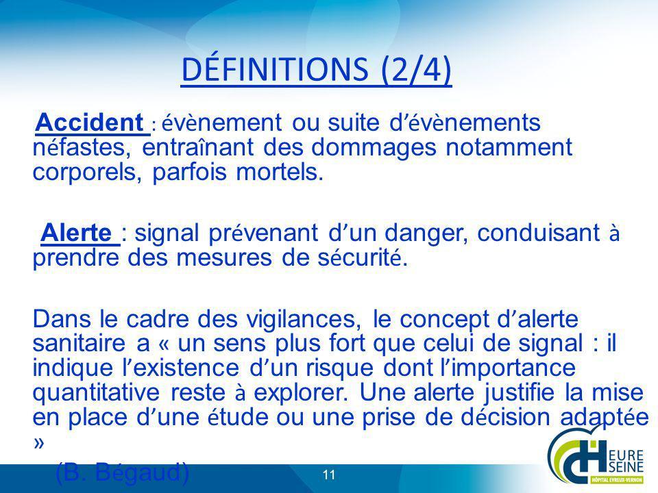 DÉFINITIONS (2/4) Accident : évènement ou suite d'évènements néfastes, entraînant des dommages notamment corporels, parfois mortels.