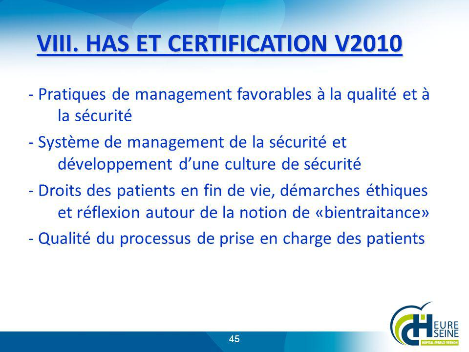 VIII. HAS ET CERTIFICATION V2010