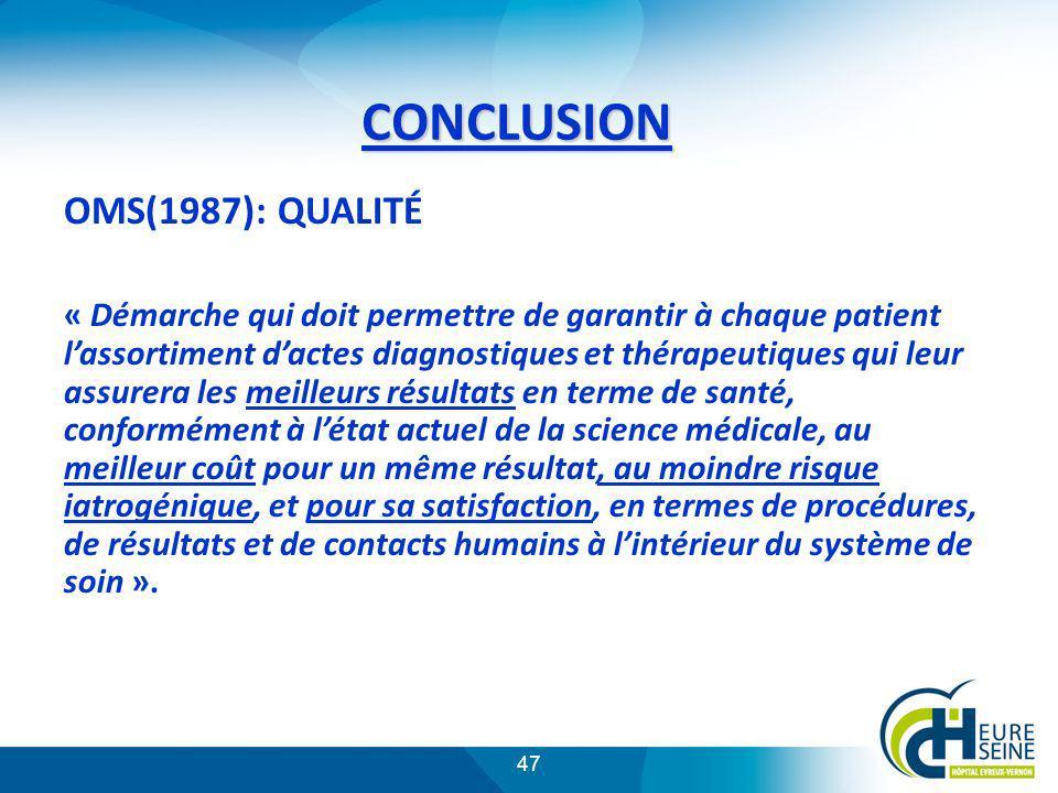 CONCLUSION OMS(1987): QUALITÉ