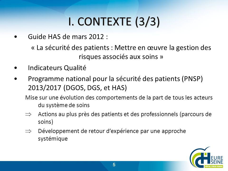 I. CONTEXTE (3/3) Guide HAS de mars 2012 :