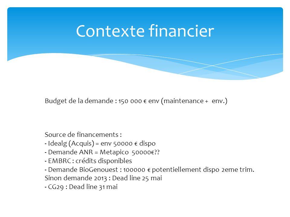 Contexte financier Budget de la demande : 150 000 € env (maintenance + env.) Source de financements :