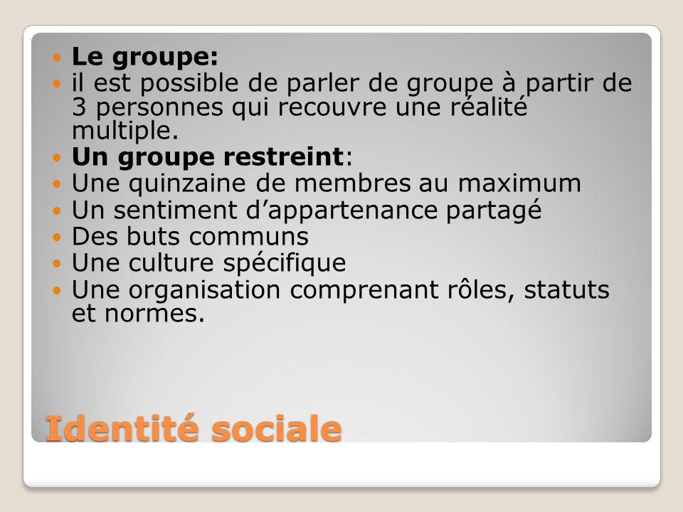 Identité sociale Le groupe: