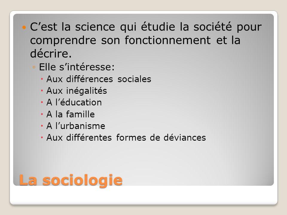 C'est la science qui étudie la société pour comprendre son fonctionnement et la décrire.