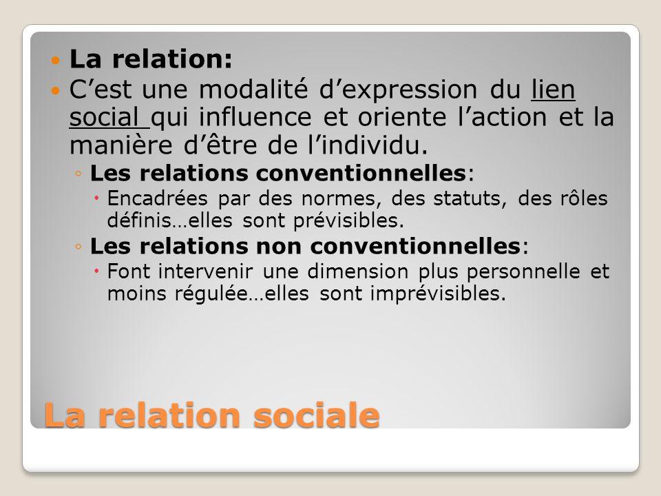 La relation sociale La relation: