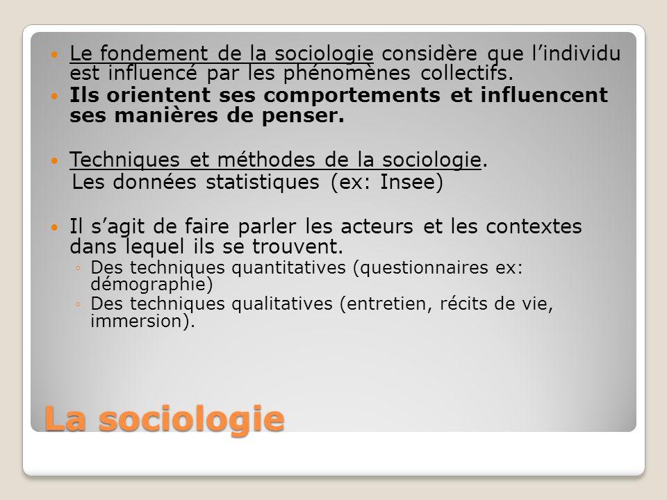 Le fondement de la sociologie considère que l'individu est influencé par les phénomènes collectifs.