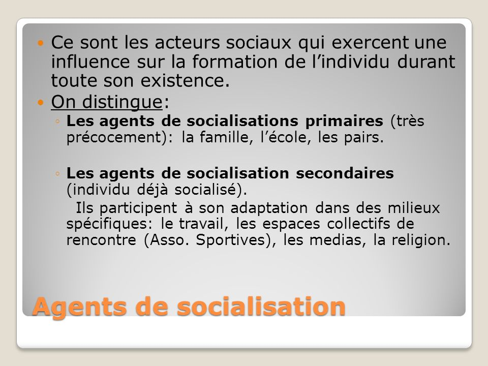 Agents de socialisation