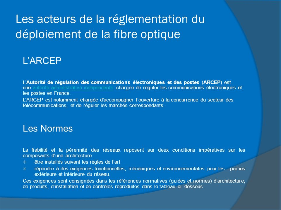 Les acteurs de la réglementation du déploiement de la fibre optique