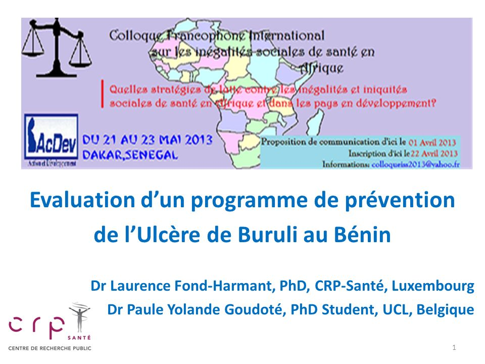 Evaluation d'un programme de prévention de l'Ulcère de Buruli au Bénin