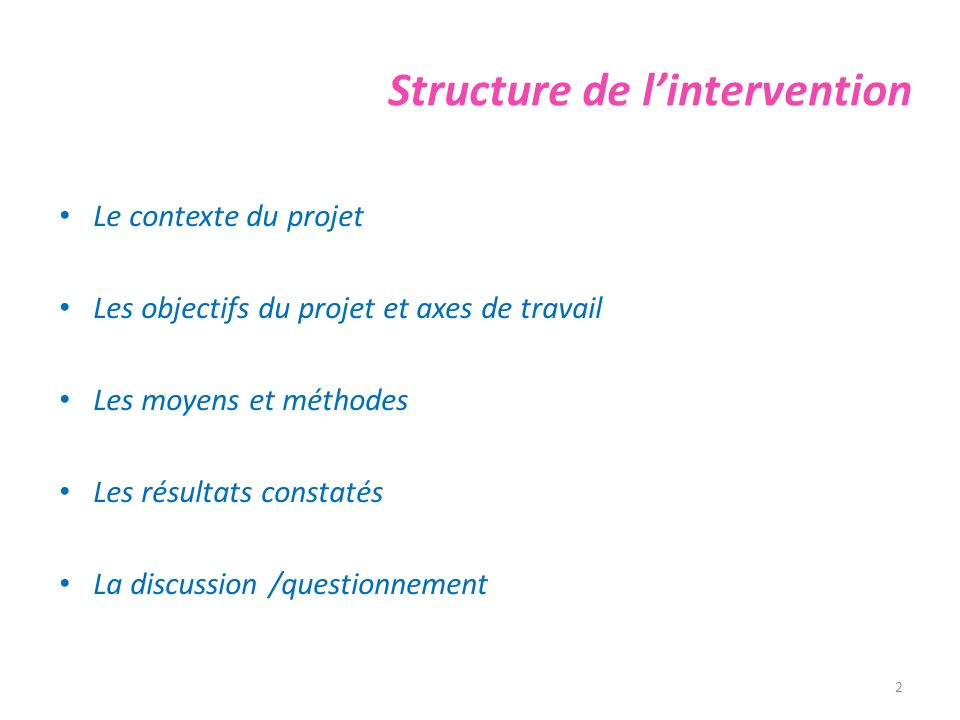 Structure de l'intervention