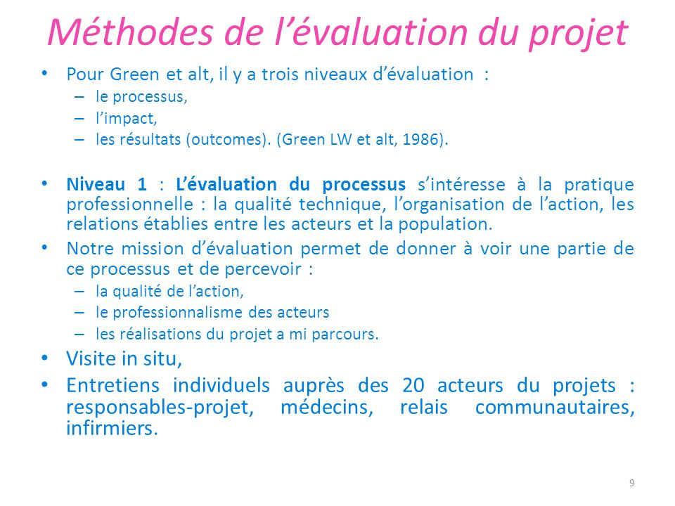 Méthodes de l'évaluation du projet