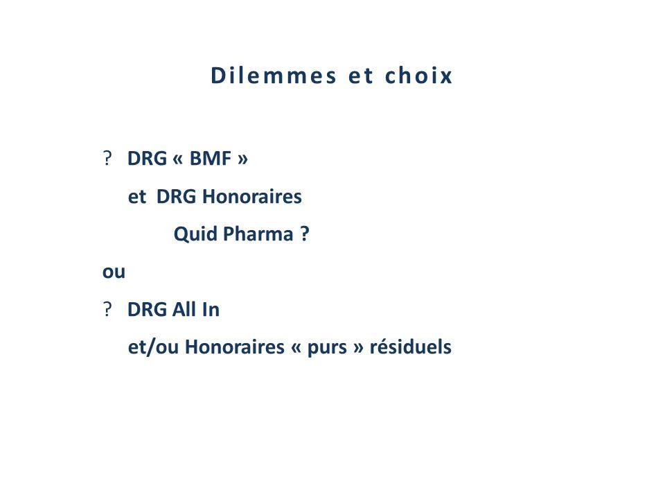 Dilemmes et choix DRG « BMF » et DRG Honoraires Quid Pharma ou