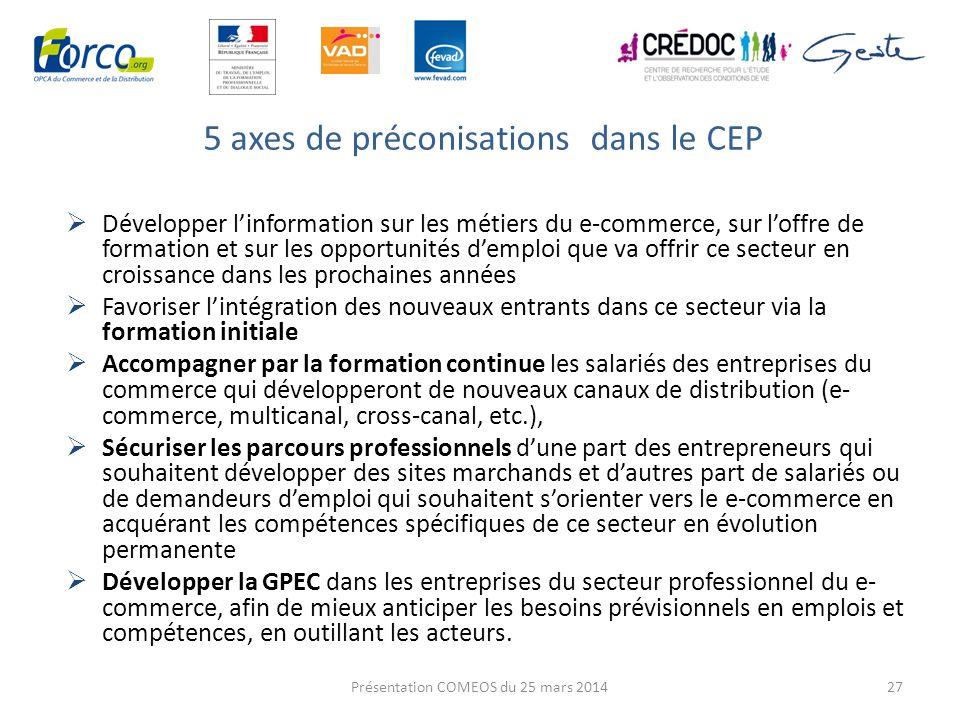 5 axes de préconisations dans le CEP