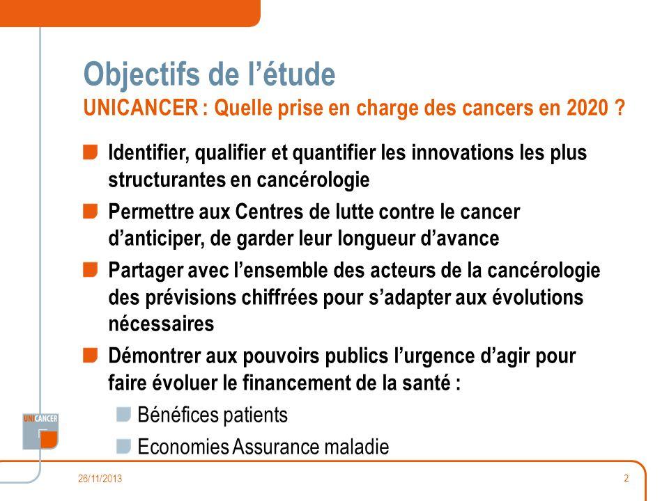 Objectifs de l'étude UNICANCER : Quelle prise en charge des cancers en 2020
