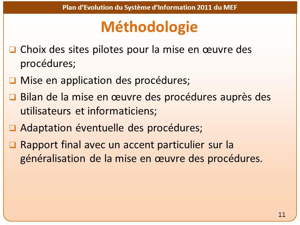 Méthodologie Choix des sites pilotes pour la mise en œuvre des procédures; Mise en application des procédures;