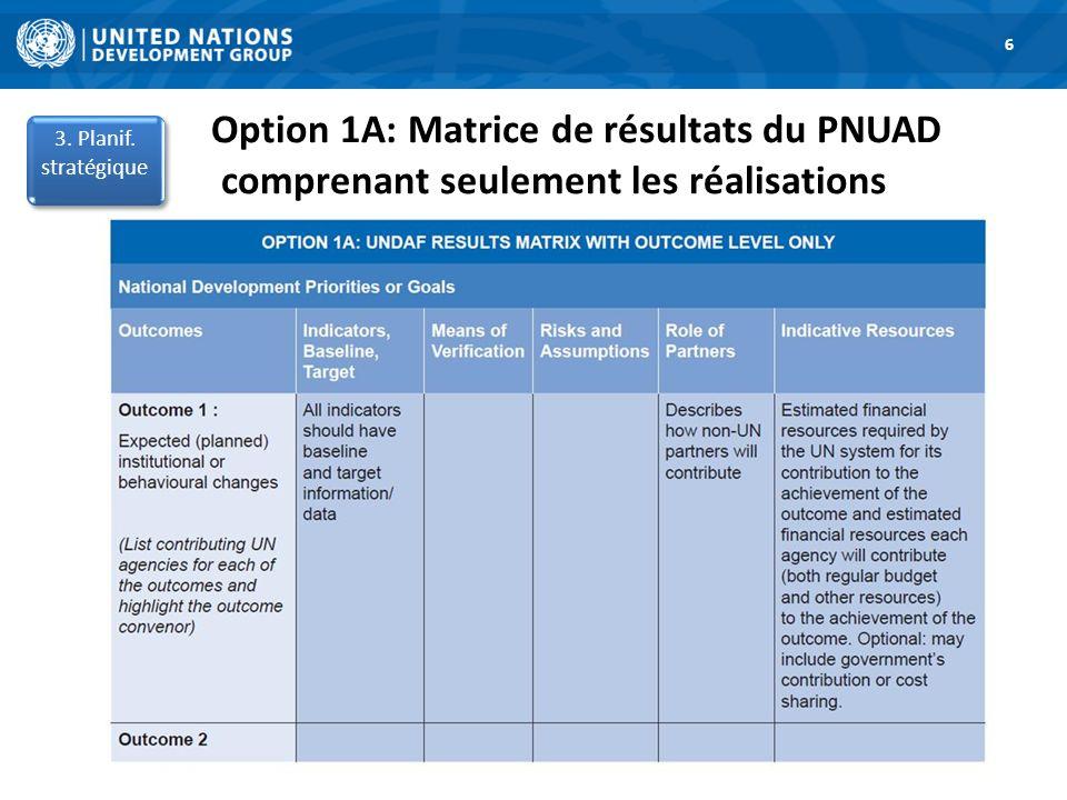 6 Option 1A: Matrice de résultats du PNUAD comprenant seulement les réalisations. 3. Planif. stratégique.