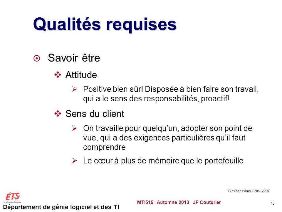 Qualités requises Savoir être Attitude Sens du client