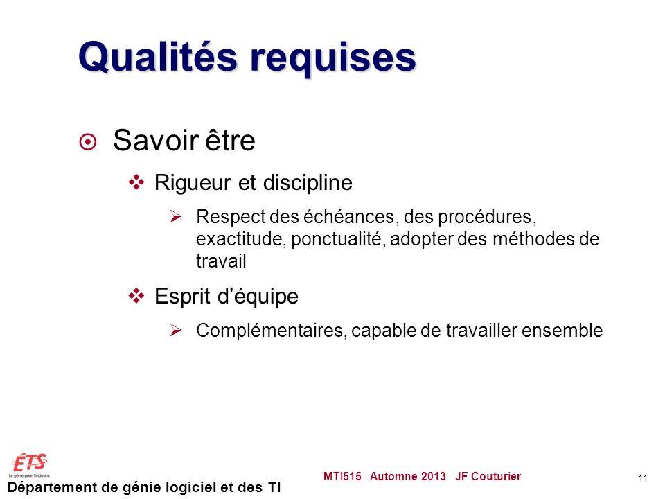 Qualités requises Savoir être Rigueur et discipline Esprit d'équipe