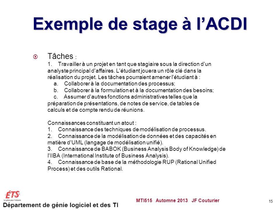 Exemple de stage à l'ACDI