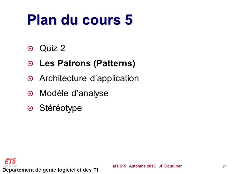 Plan du cours 5 Quiz 2 Les Patrons (Patterns)