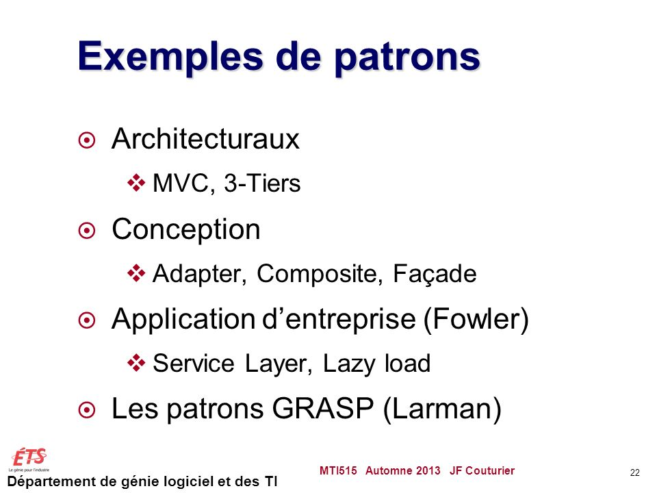 Exemples de patrons Architecturaux Conception