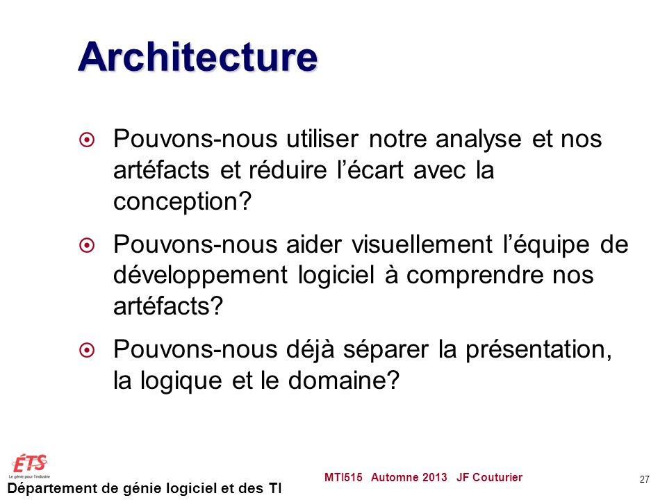 Architecture Pouvons-nous utiliser notre analyse et nos artéfacts et réduire l'écart avec la conception