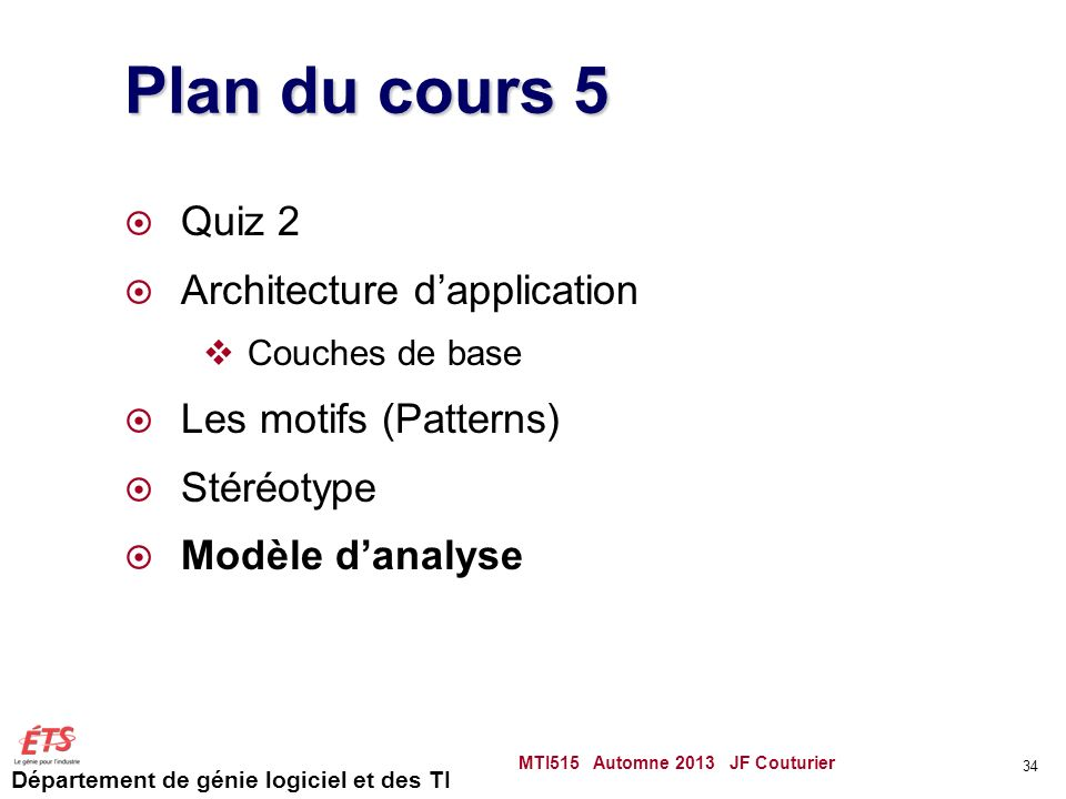 Plan du cours 5 Quiz 2 Architecture d'application
